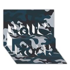 Blue Camo Pattern You Rock 3D Greeting Card (7x5)