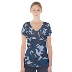 Blue Camo Pattern Short Sleeve Front Detail Top