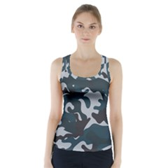 Blue Camo Pattern Racer Back Sports Top