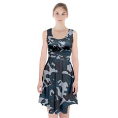 Blue Camo Pattern Racerback Midi Dress