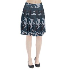 Blue Camo Pattern Pleated Skirt