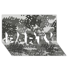 Pixel White Urban Camouflage Pattern PARTY 3D Greeting Card (8x4)