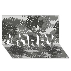 Pixel White Urban Camouflage Pattern SORRY 3D Greeting Card (8x4)