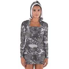 Pixel White Urban Camouflage Pattern Women s Long Sleeve Hooded T-shirt
