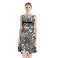 Pixel White Urban Camouflage Pattern Sleeveless Chiffon Waist Tie Dress