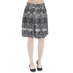 Pixel White Urban Camouflage Pattern Pleated Skirt