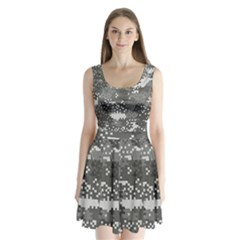 Pixel White Urban Camouflage Pattern Split Back Mini Dress