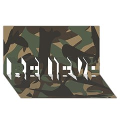Woodland Camo Pattern BELIEVE 3D Greeting Card (8x4)