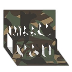 Woodland Camo Pattern Miss You 3D Greeting Card (7x5)