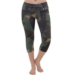 Woodland Camo Pattern Capri Yoga Leggings