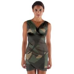 Woodland Camo Pattern Wrap Front Bodycon Dress