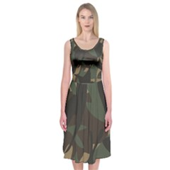 Woodland Camo Pattern Midi Sleeveless Dress