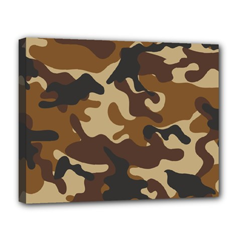 Brown Camo Pattern Canvas 14  x 11