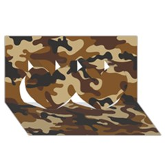 Brown Camo Pattern Twin Hearts 3D Greeting Card (8x4)