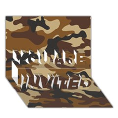 Brown Camo Pattern YOU ARE INVITED 3D Greeting Card (7x5)
