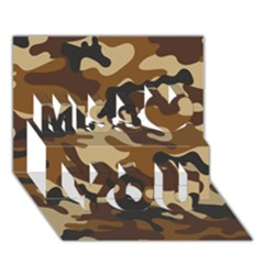 Brown Camo Pattern Miss You 3D Greeting Card (7x5)