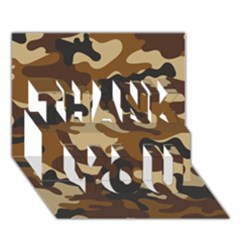Brown Camo Pattern THANK YOU 3D Greeting Card (7x5)