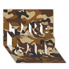 Brown Camo Pattern TAKE CARE 3D Greeting Card (7x5)