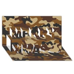 Brown Camo Pattern Merry Xmas 3D Greeting Card (8x4)