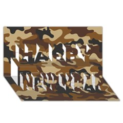 Brown Camo Pattern Happy New Year 3D Greeting Card (8x4)