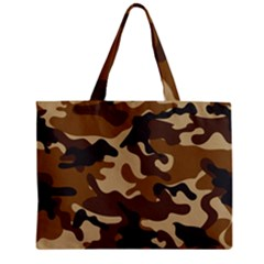 Brown Camo Pattern Zipper Mini Tote Bag