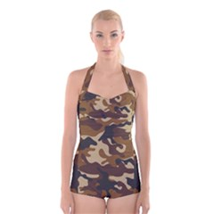 Brown Camo Pattern Boyleg Halter Swimsuit