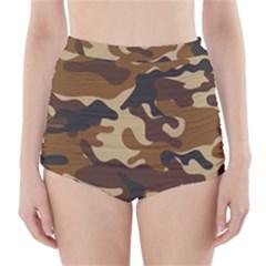 Brown Camo Pattern High-Waisted Bikini Bottoms