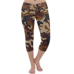 Brown Camo Pattern Capri Yoga Leggings