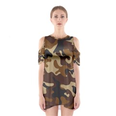 Brown Camo Pattern Cutout Shoulder Dress