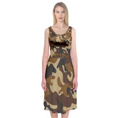 Brown Camo Pattern Midi Sleeveless Dress