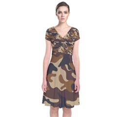 Brown Camo Pattern Short Sleeve Front Wrap Dress