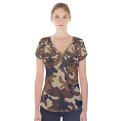 Brown Camo Pattern Short Sleeve Front Detail Top