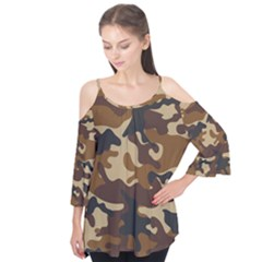 Brown Camo Pattern Flutter Tees