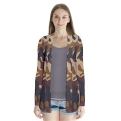 Brown Camo Pattern Drape Collar Cardigan