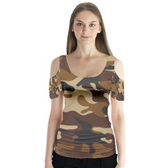 Brown Camo Pattern Butterfly Sleeve Cutout Tee