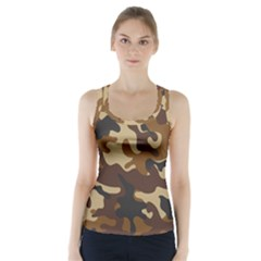 Brown Camo Pattern Racer Back Sports Top