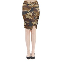 Brown Camo Pattern Midi Wrap Pencil Skirt