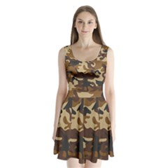 Brown Camo Pattern Split Back Mini Dress