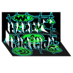 Green and blue abstraction Happy Birthday 3D Greeting Card (8x4)