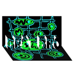 Green and blue abstraction BEST BRO 3D Greeting Card (8x4)