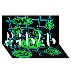 Green and blue abstraction #1 DAD 3D Greeting Card (8x4)