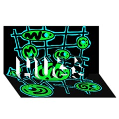 Green and blue abstraction HUGS 3D Greeting Card (8x4)