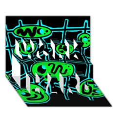 Green and blue abstraction WORK HARD 3D Greeting Card (7x5)