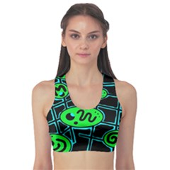 Green and blue abstraction Sports Bra