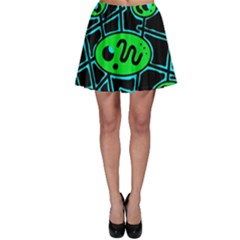 Green and blue abstraction Skater Skirt