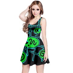 Green and blue abstraction Reversible Sleeveless Dress