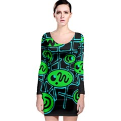 Green and blue abstraction Long Sleeve Bodycon Dress