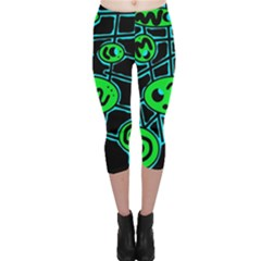 Green and blue abstraction Capri Leggings
