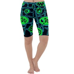 Green and blue abstraction Cropped Leggings