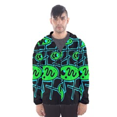 Green and blue abstraction Hooded Wind Breaker (Men)